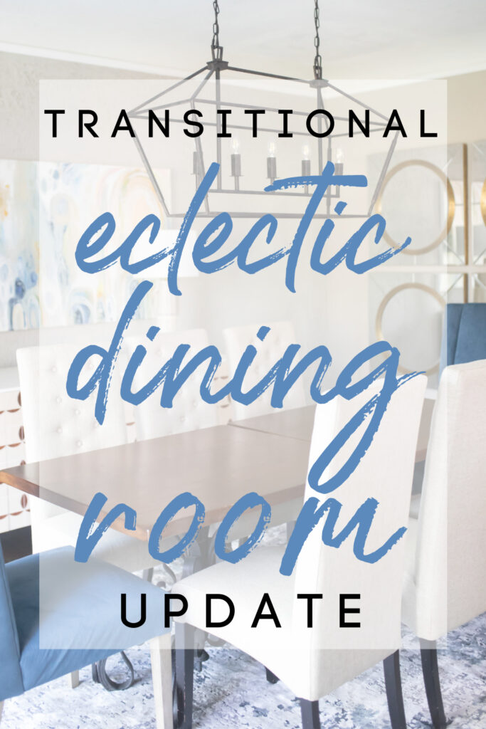 I'm so excited to share the details of our transitional eclectic dining room update with boho touches thanks to the help of Luxe Furniture & Design. You'll find details on our blue velvet dining room host chairs, modern trefoil sideboard, frameless beveled mirrors, and more!