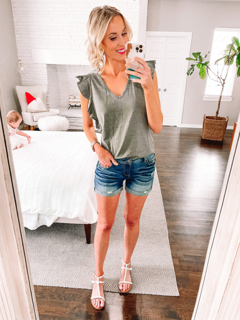 Looking for cute, affordable clothes? I have a Walmart try on for you today on the blog! This t-shirt is just $10 and the shorts are just $15!