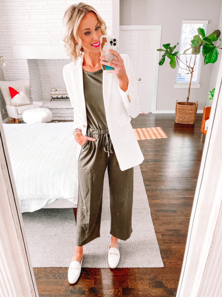 I am loving this wide leg jumpsuit! Perfect dressed up for work! All part of my Walmart try on!