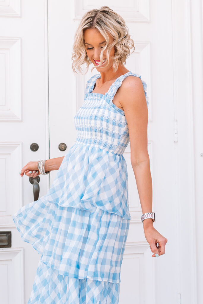 This blue gingham midi dress is stunning! It is super flattering and will have you event ready this summer.