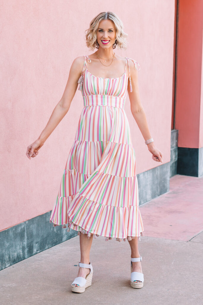 Love this rainbow stripe dress for summer! The shoulder tie and tassels are so fun! Perfect with a fun colored shoe!