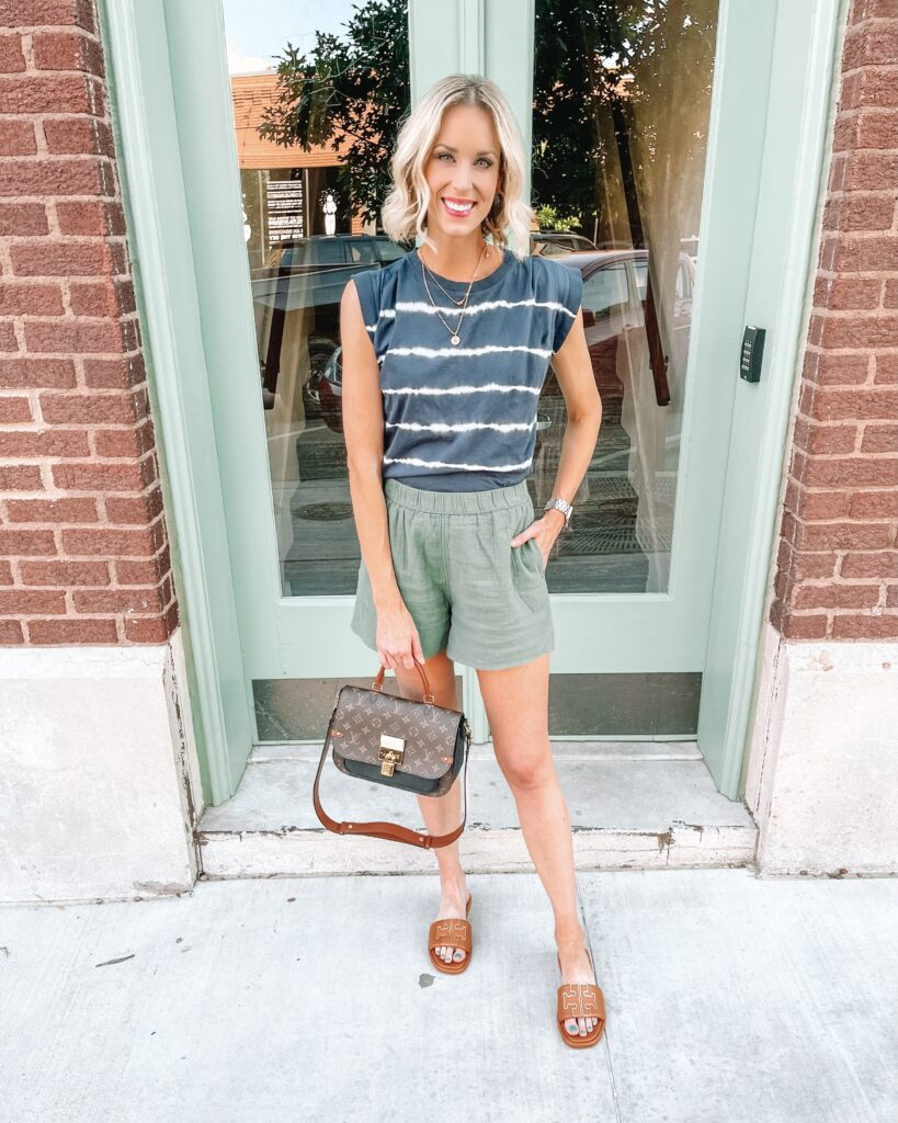 These $15 green pull on shorts are amazingly comfortable and super versatile! They function like a neutral, so they are super easy to mix and match.