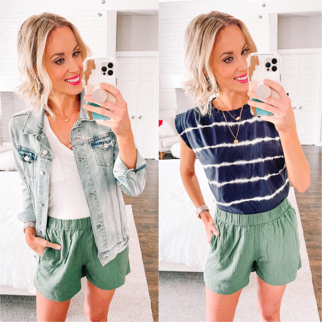 Pull on shorts are my summer hero! They feel like pjs but look so put together! This first green pair is just $15!!! They are super flattering and true to size. I love the color as it functions as a neutral though they do come in NINE color options. Click to see more from my summer Target try on!