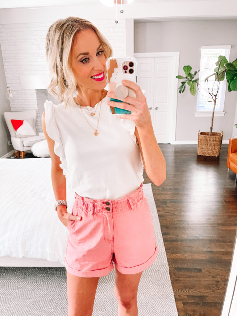 I love these pink gathered waist shorts! They are just $22 and so comfy!