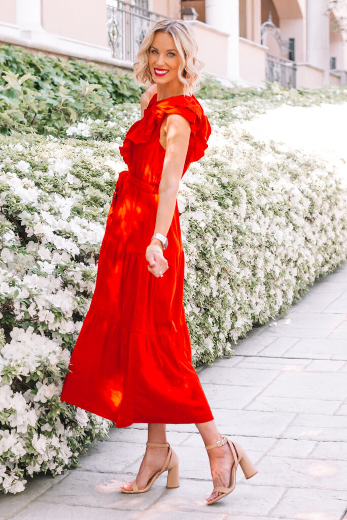 This $34 red maxi dress would made a perfect baby shower dress or wedding guest dress!