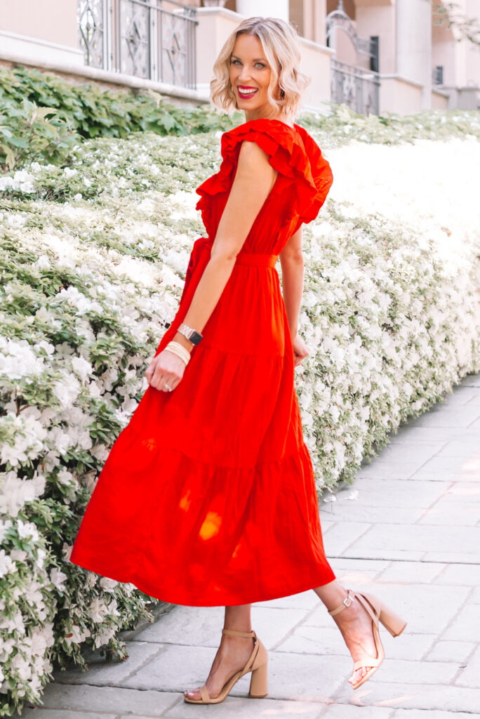I love the ruffle detailing on this gorgeous $34 red maxi dress!