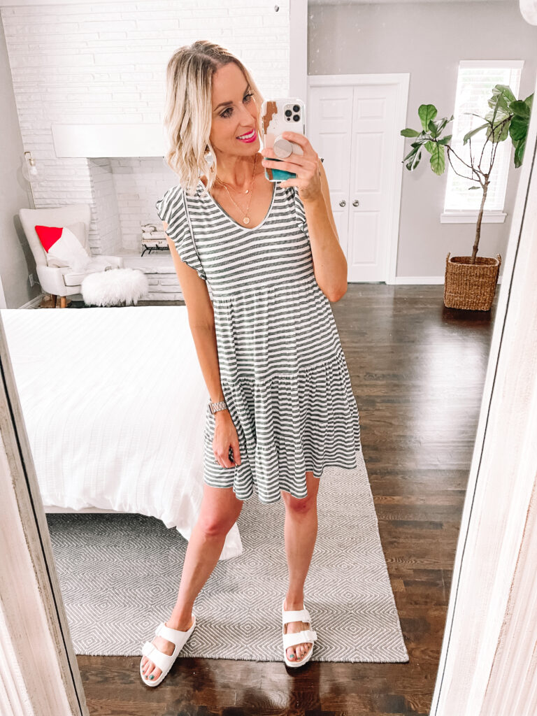 This $19 striped cotton dress is perfect for summer and so easy to wear!