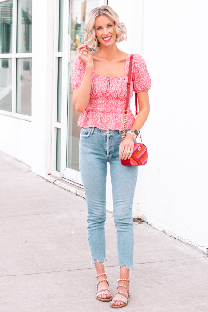 I love this adorable smocked waist top and jeans paired with sandals for a casual look!