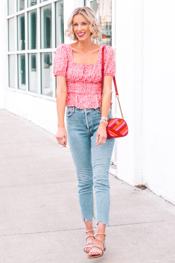 Sharing a bit about Agolde jeans and this adorable smocked waist top!