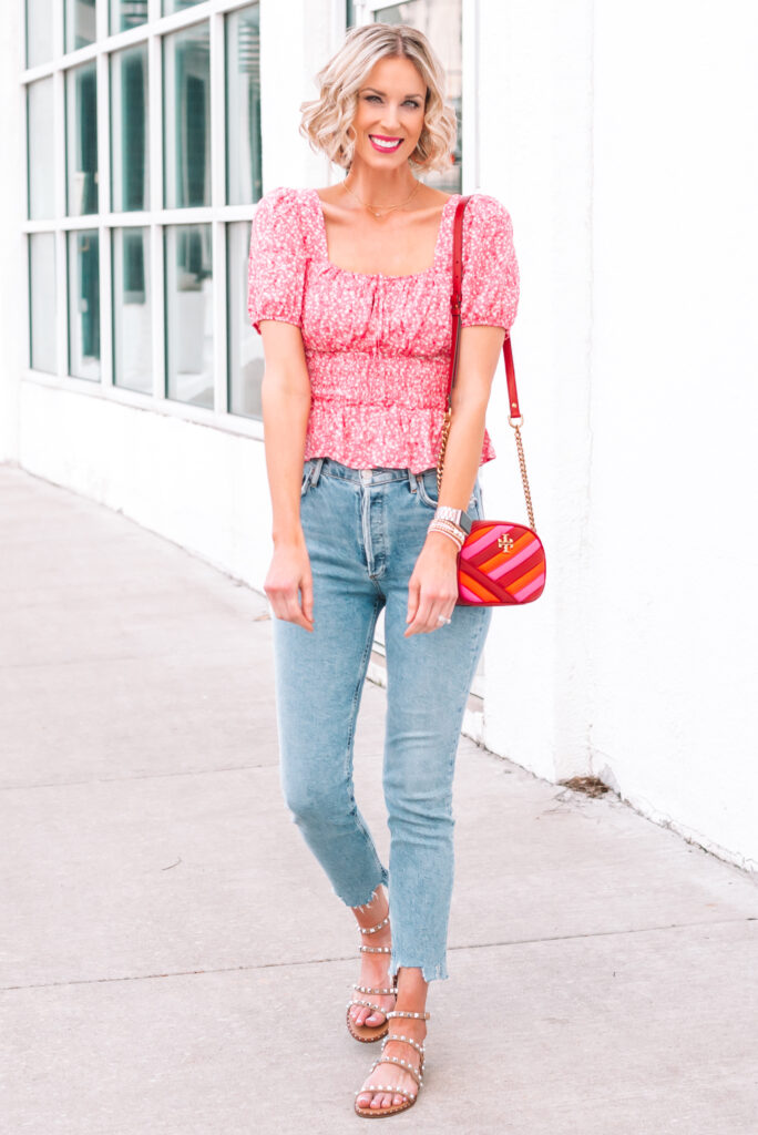 This smocked waist top and jeans is the perfect casual pairing for spring!
