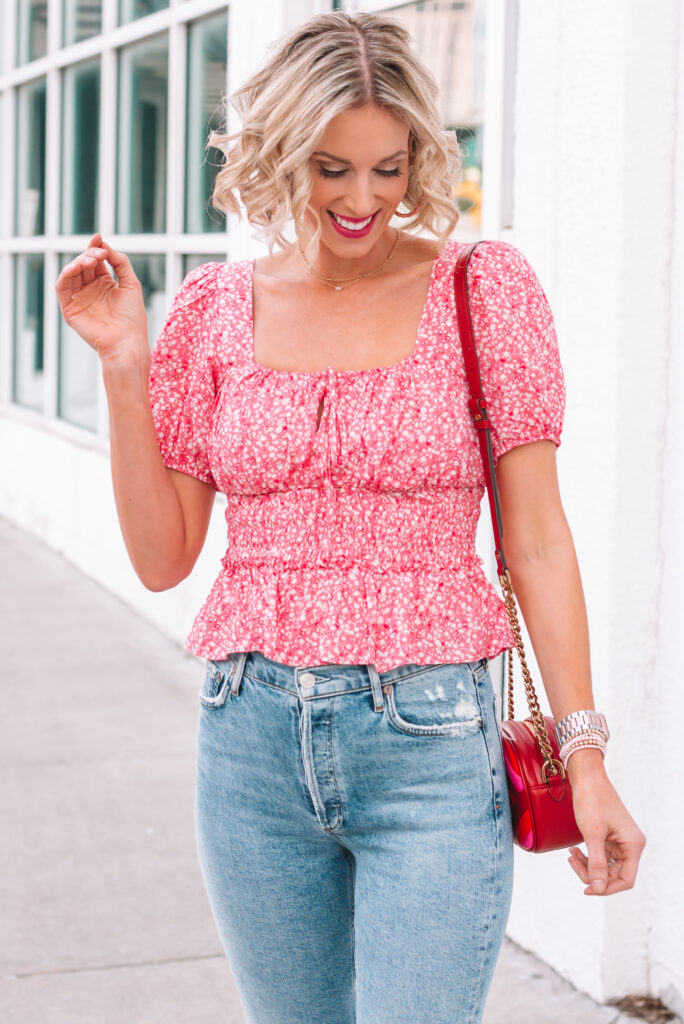 How cute is this smocked waist top with the keyhole detail?!