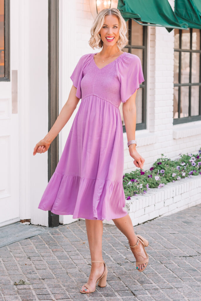 This smocked amazon purple dress is so perfect for a baby shower or wedding guest dress! It comes in other colors too!