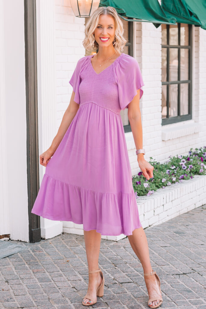 I'm loving this amazon purple dress! It's so flattering and easy to wear!