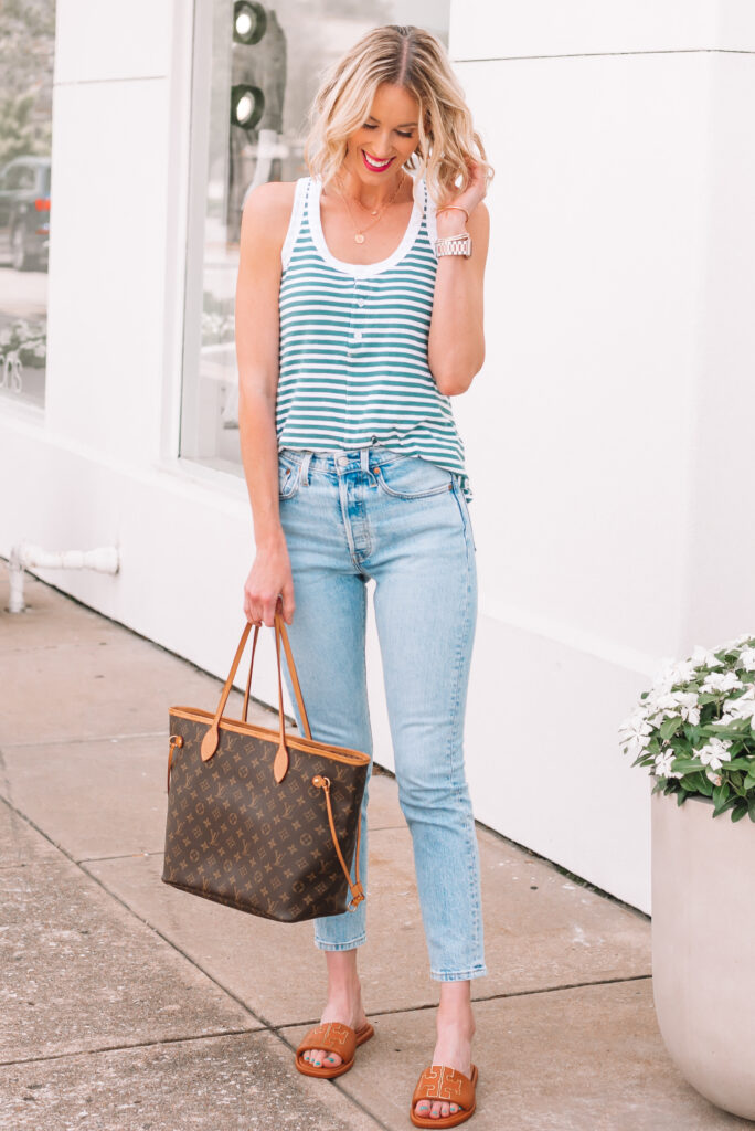 I am loving this combo of my Levi's 501 skinny jeans and henley tank top. A classic pairing for spring and early summer!