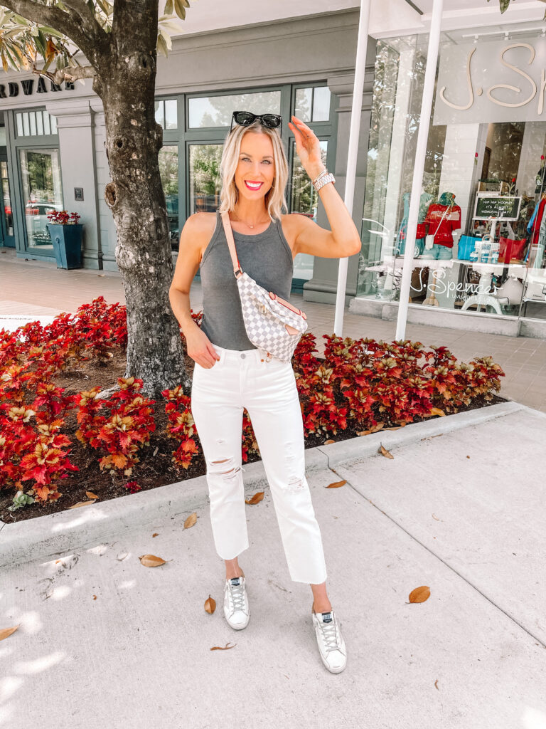 Looking for the best white jeans? I'm sharing my favorites in all types including these amazing straight leg white jeans with distressing.