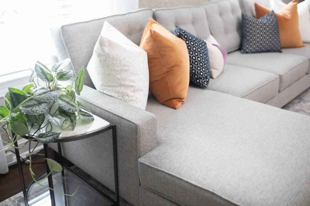 I love these high quality, custom throw pillows on our performance fabric sectional!
