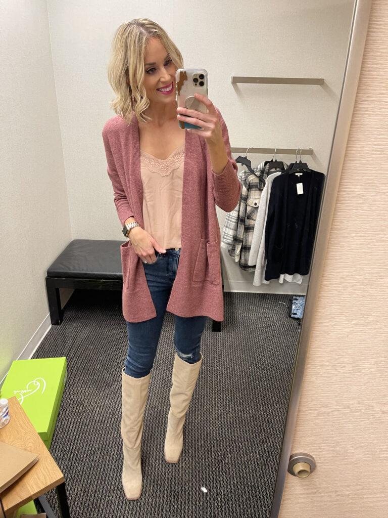 How fun is this gorgeous cardigan and knee high boot look from my Nordstrom Anniversary sale try on 2021 post?!
