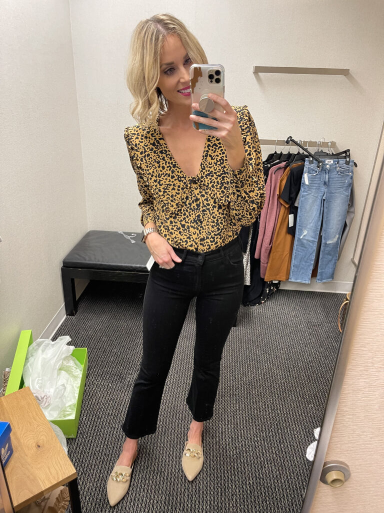 This leopard print blouse is so much fun with the wide collar which is so on trend right now!