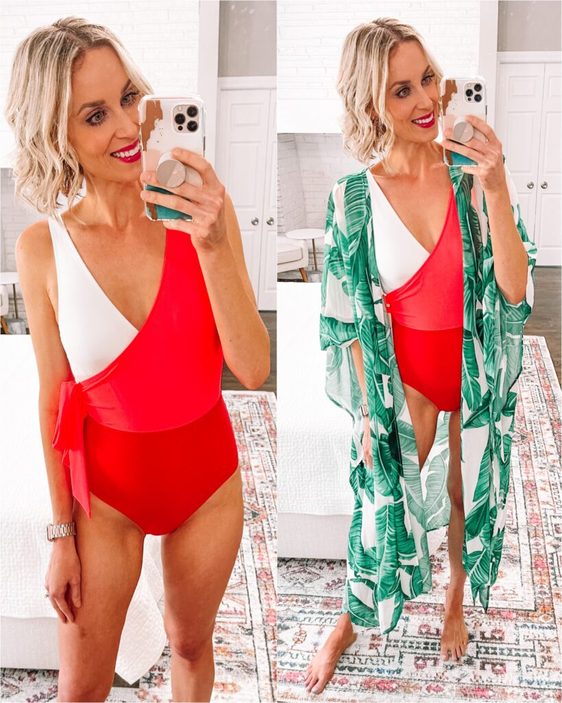 Are you like me and in need of a new swimsuit? I'm rounding up the best of Amazon swimsuits all with good coverage and under $35! This fun color block wrap style one piece comes in multiple colors and is super flatting. Pair it with this palm print kimono for a cute cover up!