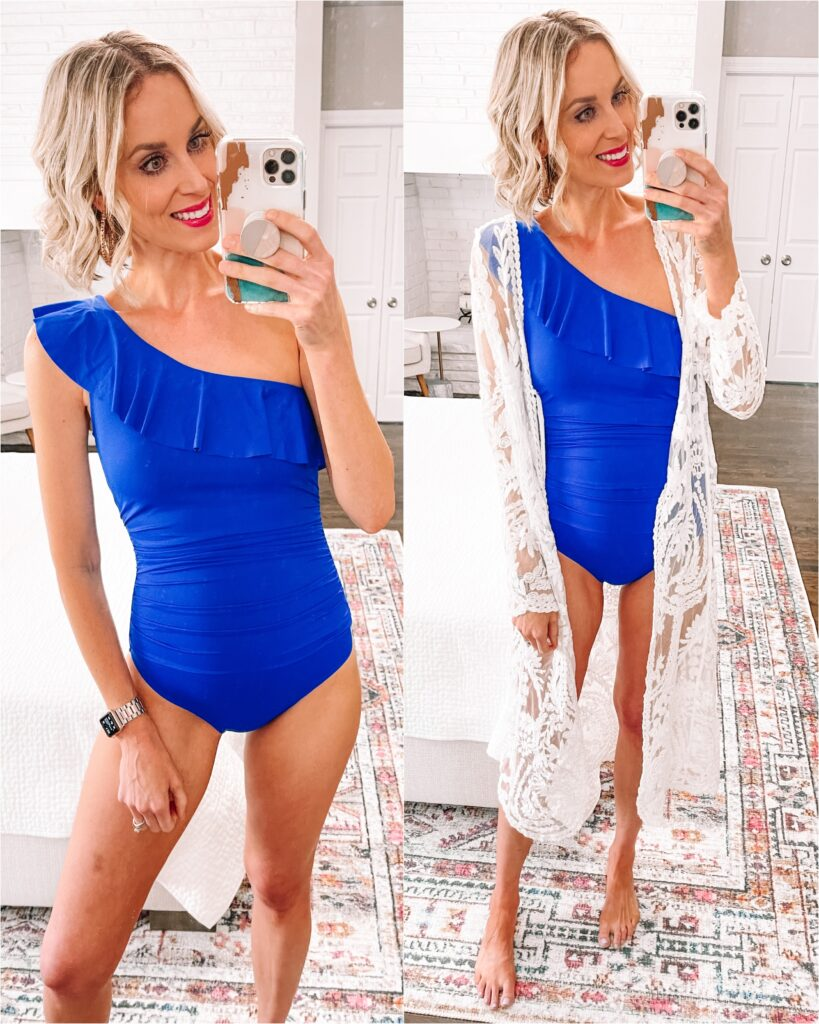 Looking for an affordable and flattering swimsuit without the hassle? I've got you covered with the best of amazon swimsuits! This ruched one shoulder ruffle swimsuit is super flattering and affordable!