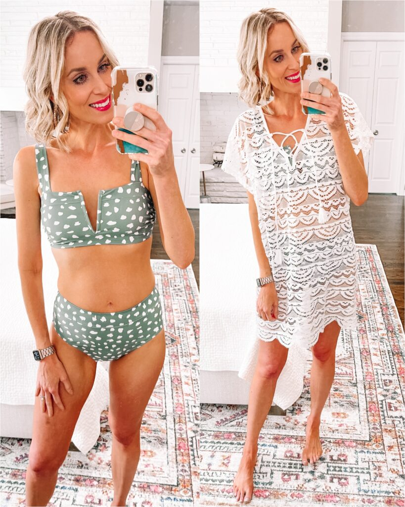 Are you like me and in need of a new swimsuit? I'm rounding up the best of Amazon swimsuits all with good coverage and under $35! This high waisted two piece has an adjustable top.