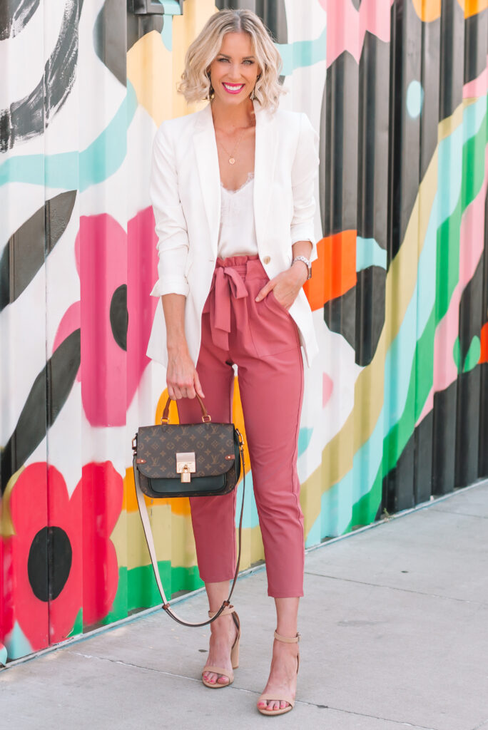 These Amazon paper bag waist work pants are amazing! I wish I had bought them sooner! At just $30 they are super affordable for a work pant and come in multiple colors. The pinks looks so great with a white blazer and nude heel.