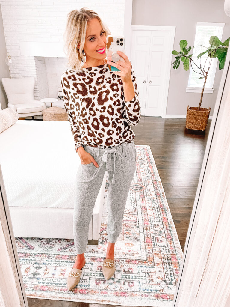 How fun is this leopard top paired with my grey joggers?! It is all part of a Nordstrom Anniversary sale 2021 loungewear set!