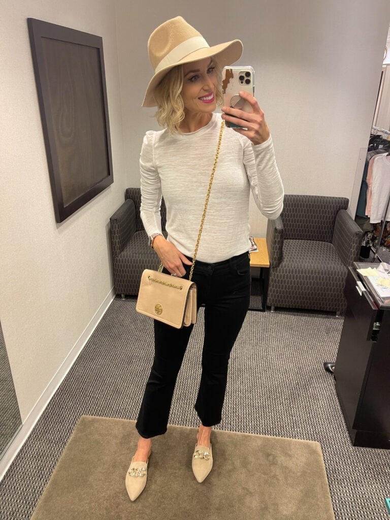 I am loving this casual, neutral look from my Nordstrom anniversary sale try on! These are the cutest black kick flares with a fun ruffle sleeve top and hat.