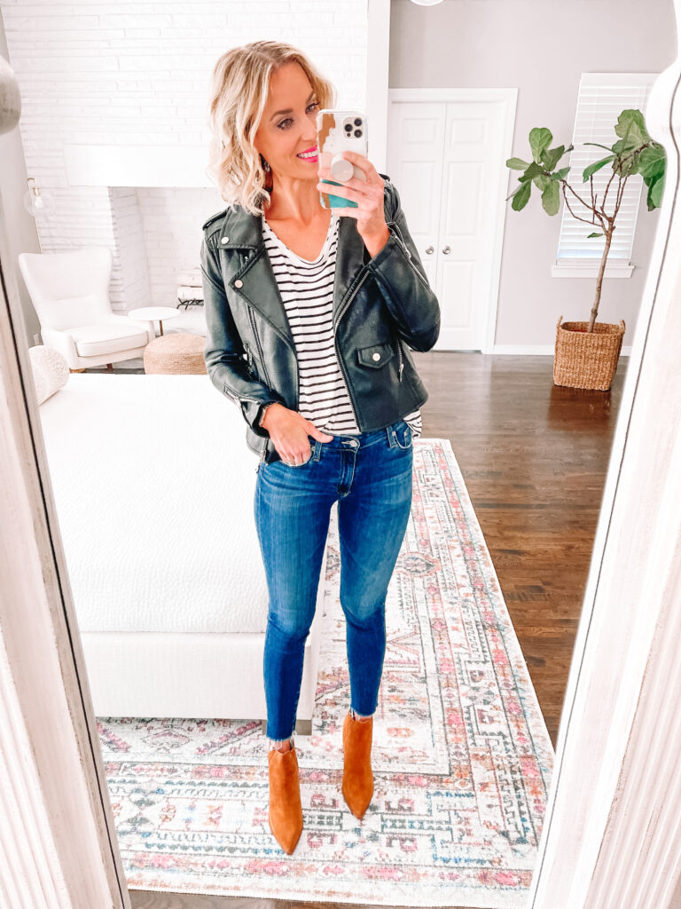 This black faux leather moto is the best of the Nordstrom Anniversary Sale 2021! It's just $55 and goes with everything!