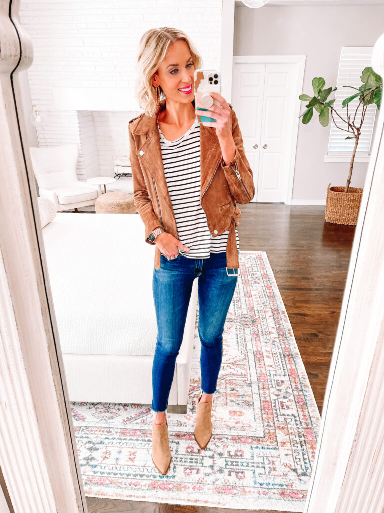 My suede moto and taupe booties are truly the best of the Nordstrom Anniversary 2021!
