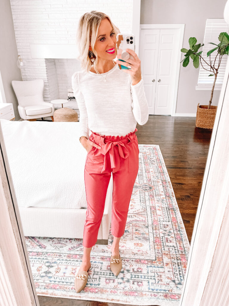 Are you looking to add some fun to your work wardrobe with a versatile and affordable piece? Then this post is for you! I'm sharing 6 ways to wear colored work pants. The easiest way to style colored work pants is with a solid top!