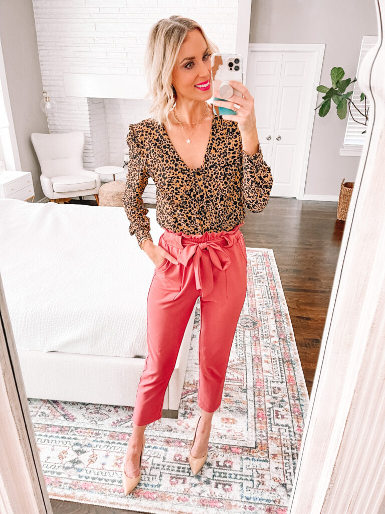 Are you looking to add some fun to your work wardrobe with a versatile and affordable piece? Then this post is for you! I'm sharing 6 ways to wear colored work pants. leopard is a neutral and an easy option for a colored pant.