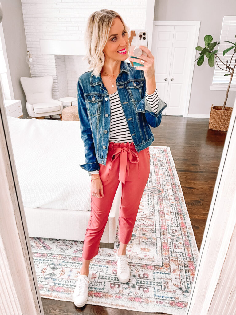 An easy idea to style a colored work pant is with a jean jacket. It's the perfect layer!