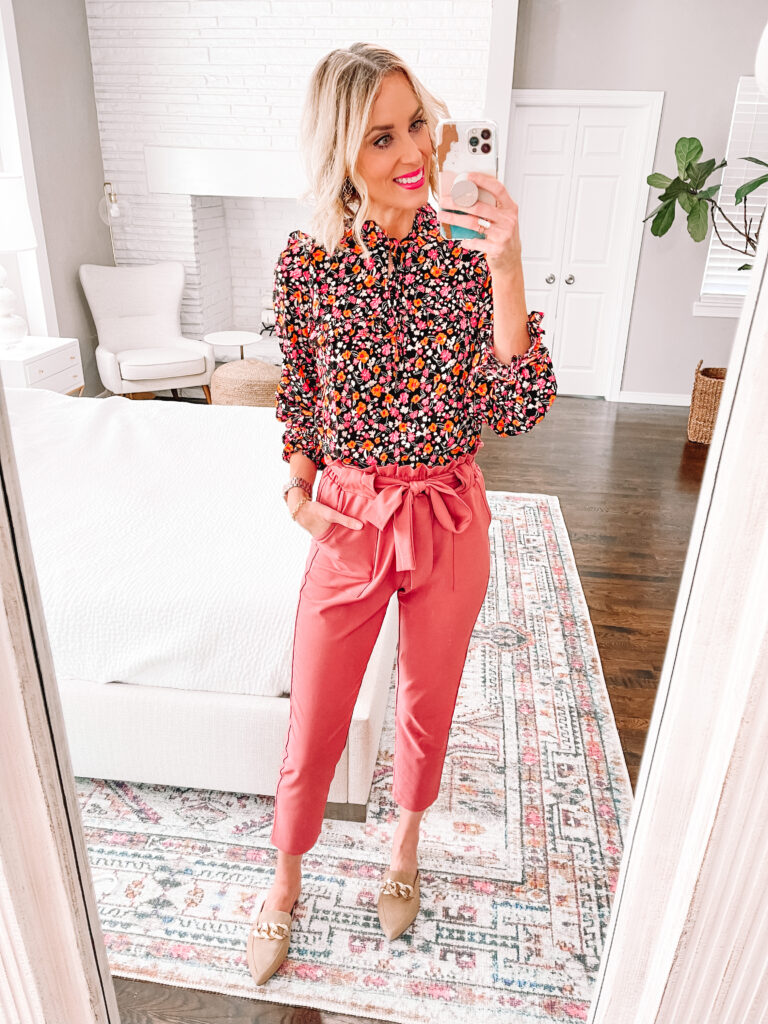 Are you looking to add some fun to your work wardrobe with a versatile and affordable piece? Then this post is for you! I'm sharing 6 ways to wear colored work pants. I love pairing these pink paperbag waist pants with this fun floral blouse.