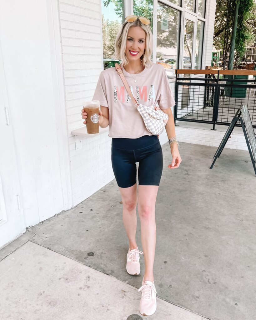 Looking for a bike shorts outfit idea? I am loving this cropped tee for a fun pairing with bike shorts.