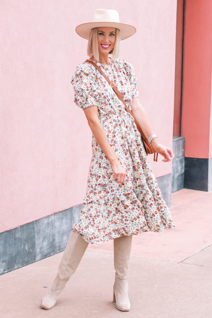 Are you looking to stretch your closet? I'm sharing tips on how to style a dress for now and later plus what to look for in a dress when you buy! This adorable $33 easily transitions from summer, to fall, to winter!