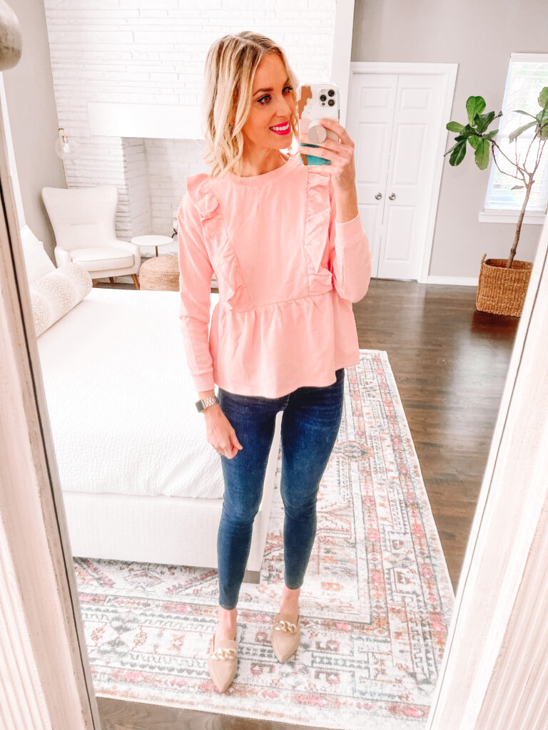 This adorable peplum ruffle top is actually a sweatshirt material. So comfy!!