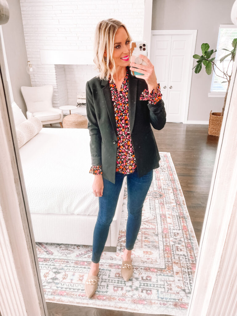 Sharing this gorgeous fall floral blouse as part of my Walmart fall try on haul! Nothing over $33 and everything is mix and match!