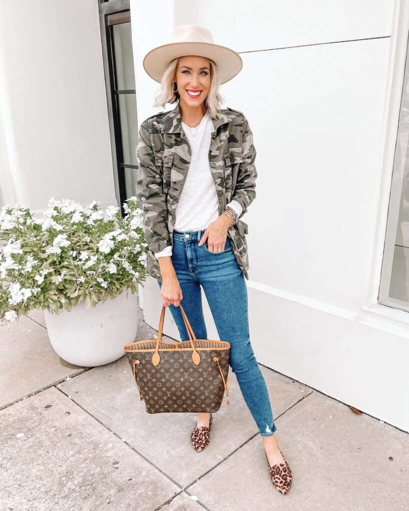 I love this elevated white t-shirt to style for now and later! It's so easy to wear but the sleeves add a little extra something! I added a camo utility jacket for an easy layer.