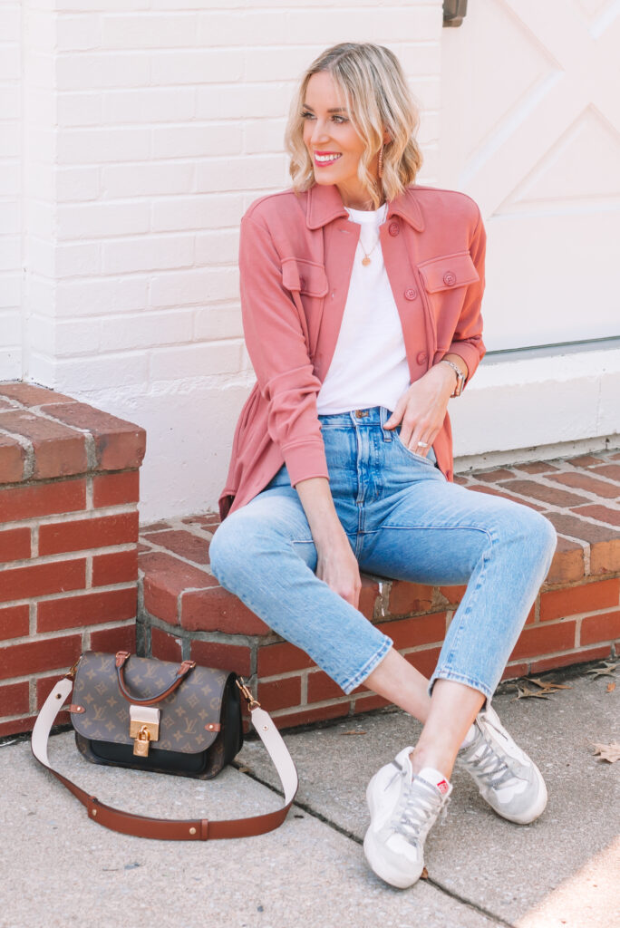 I'm loving this rose colored knit shacket with my slim straight jeans and sneakers for a casual early fall look.