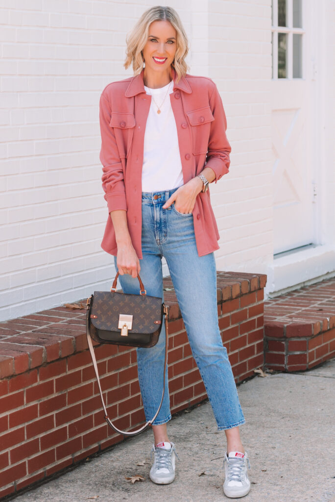 Layer a shacket with a white tee and pair with jeans for an easy outfit!