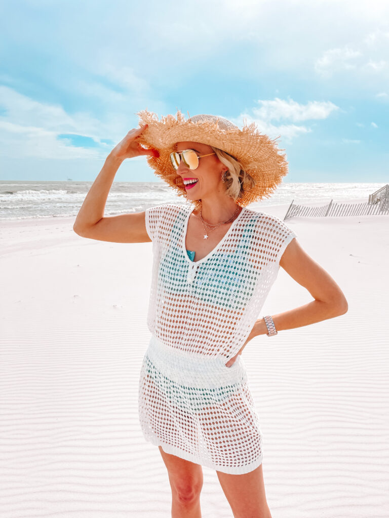 I am loving this $20 Amazon swimsuit coverup! It's a chic and easy way to up your beach style. Just add a cute hat!