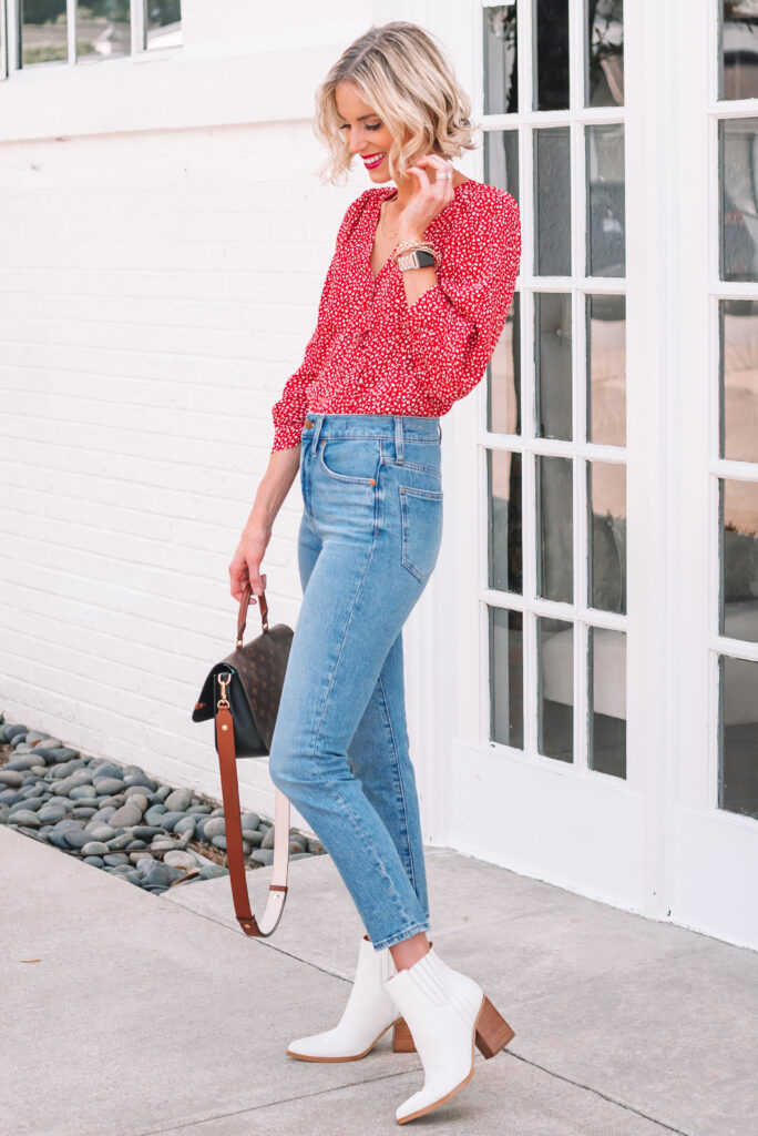 I love these white boots with a pair of straight leg jeans and printed blouse for fall!