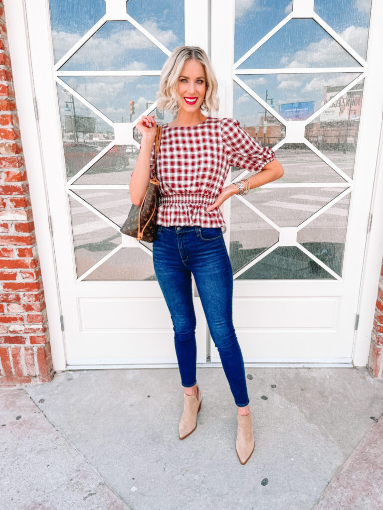 This is the best gingham top for fall with the burgundy and white colors and flattering smocked peplum waist!  Simply pair with a skinny jean and boots.