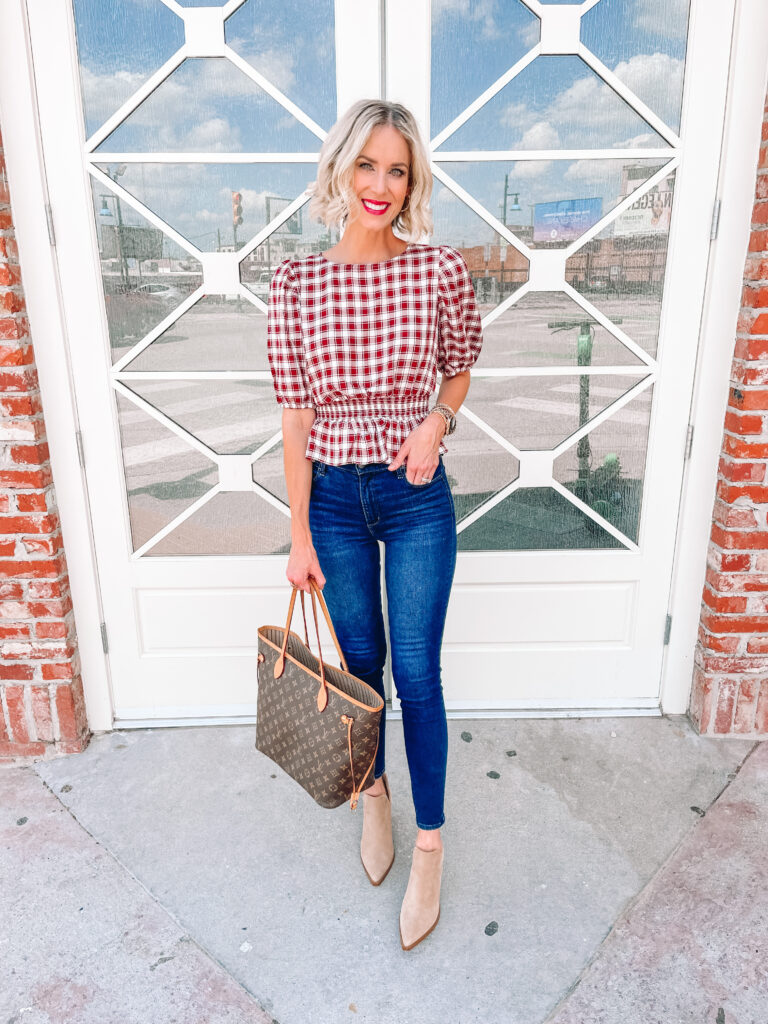 This is the best gingham top for fall with the burgundy and white colors and flattering smocked peplum waist!
