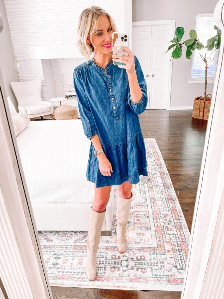 This adorable $30 chambray dress is part of my Walmart try on for fall! It would be perfect for family photos!