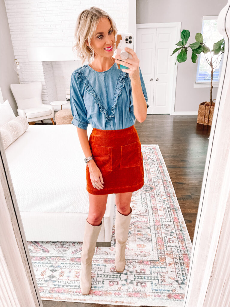 How perfect is this rust corduroy skirt with my chambray top?! Snag it and more in my Walmart try on for fall!