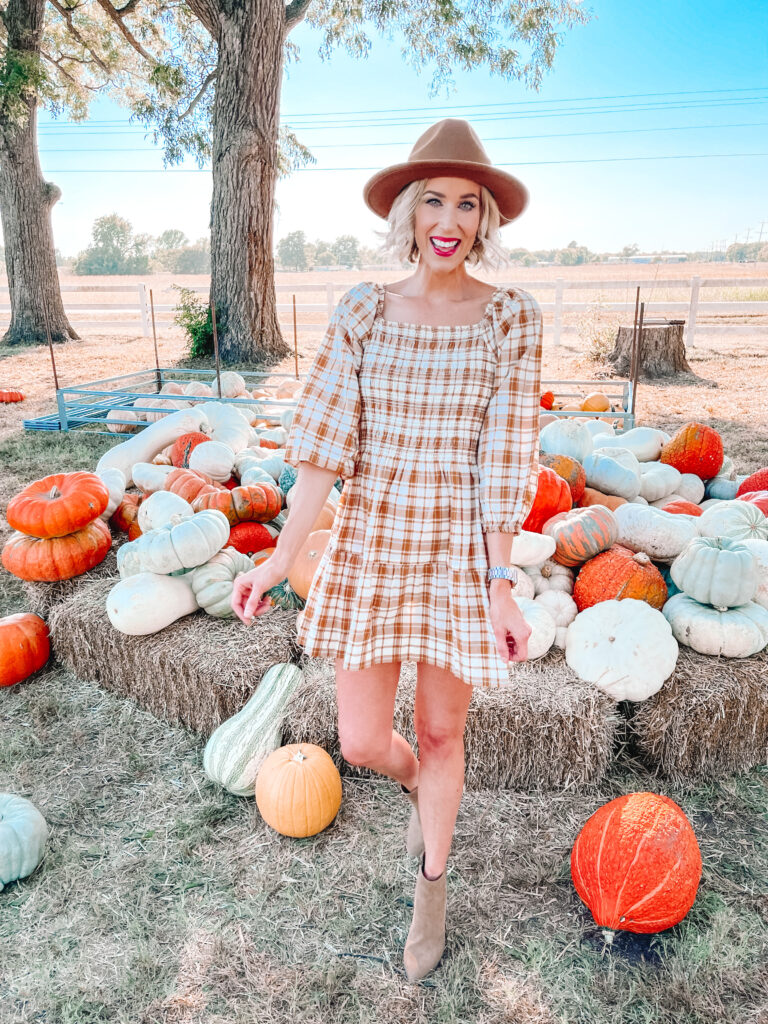 This is the cutest $32 smocked plaid dress for fall!