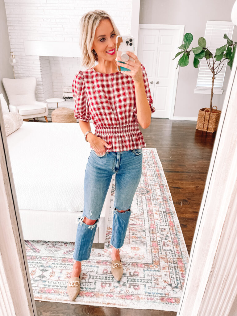 Wondering how to wear straight leg jeans? Today I am sharing 6 straight leg jean outfit ideas that you can easily implement in your closet! Take my suggestions as guidelines and put them to work with what you have! You don't want to lose your visual waist, so a peplum top is a great idea!