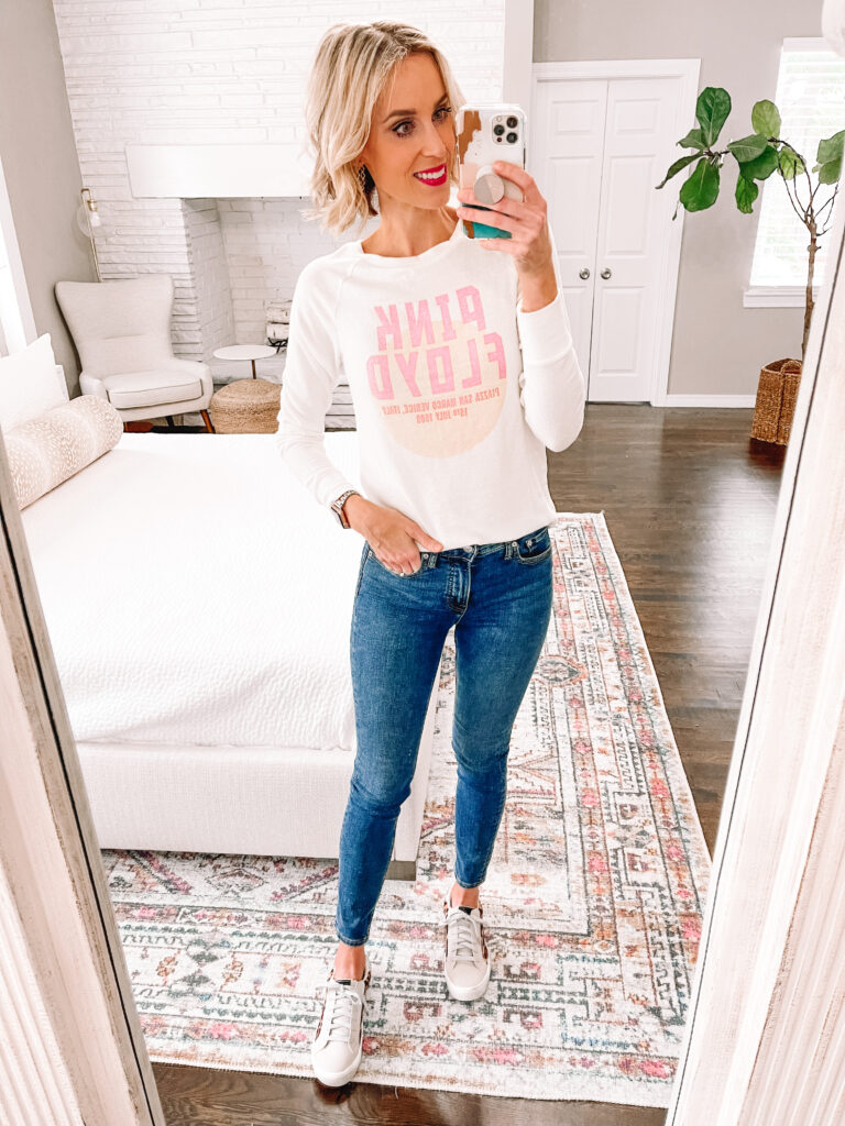 Who else loves graphic tees? This one is just $15 and so much fun! All part of my huge Walmart try on!